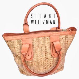 ⬇️$86 Stuart Weitzman Straw & leopard Burlap Bag